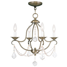 Livex Lighting 6424-01 - 4 Light Antique Brass Mini Chandelier