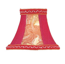Livex Lighting S125 - Red Floral Panel Bell Clip Shade with Fancy Trim