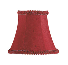 Livex Lighting S266 - Burgundy Silk Bell Clip Shade with Fancy Trim